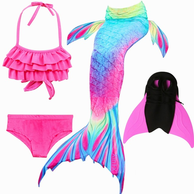 9881567633dc4 2018 NEW 4pcs/Set Ariel Mermaid Tail for Girls Swimming Kids Swimmable Mermaid  Tail Swimsuit