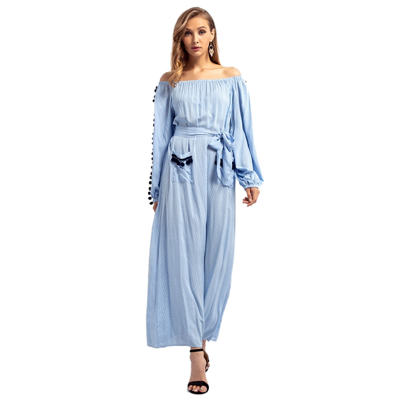 Women's Autumn Winter Middle Eastern Muslim Style Long long Sleeve Up Bandage Off Shoulder Maxi Dress(China)