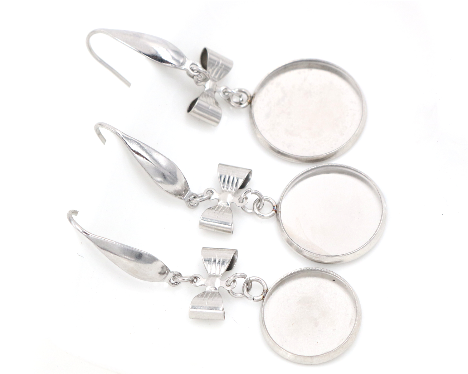 ( No Fade ) 141618mm 10pcslots Stainless Steel Handmade Style Lever Back Earrings BlankBase,Dangle Earring Setting