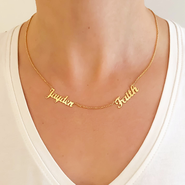 Custom 1-6 Multiple Names Necklace Personalized Stainless Steel Family Numbers Nameplate Pendant Necklace Jewelry Mom Dad Gifts