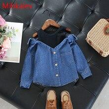 Mihkalev/ г. Рубашки и топы с длинными рукавами для маленьких девочек, Модная Джинсовая блузка и рубашки для маленьких девочек, детская одежда топы для детей