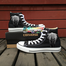 High Top Converse All Star Hand Painted Shoes Custom Original Design Animal Elephant Women Men Shoes Man Woman Sneakers Gifts