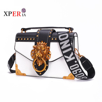Fashion Metal Lion Head Bags For Women Pack Shoulder Bag Crossbody Package Clutch Women Designer Wallet Handbags Bolsos Mujer
