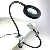 LED 3.5X 돋보기 벤치 바이스 테이블 클램프 세 번째 손 도구 납땜 도움 손 USB 2pcs 유연한 팔 마더 보드 복구