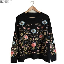 Hchenli 2017 Flower embroidery Women Sweater Lady Pullover Sweaters Knitwear Sweatershirt Contrast Color Fashion Sweater
