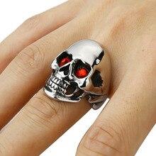 Mens Solid Gothic Punk Biker Motorbike Rider Vintage 316L Stainless Steel Skull Ring Halloween Prop Factory Price Wholesale