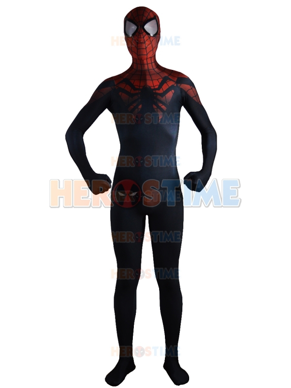 New Superior Spider-Man Costume Black Red Spiderman Superhero Costumes Fullbody Halloween Cosplay Party Zentai Suit Hot Sale