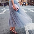2017 Summer Fashion white Net Yarn Voile Skirt Pompon tutu high waist long holiday Skirt for Women and Girls