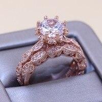 Size5 10 кольца для пар, роскошные ювелирные изделия, серебро 925 пробы и розовое золото; круг, вырезанный 5A цирконием, вечерние обручальное кольц