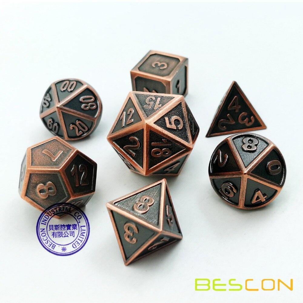 bescon novo estilo de cobre solido metal polyhedral d d dice conjunto 7 cobre rpg rpg