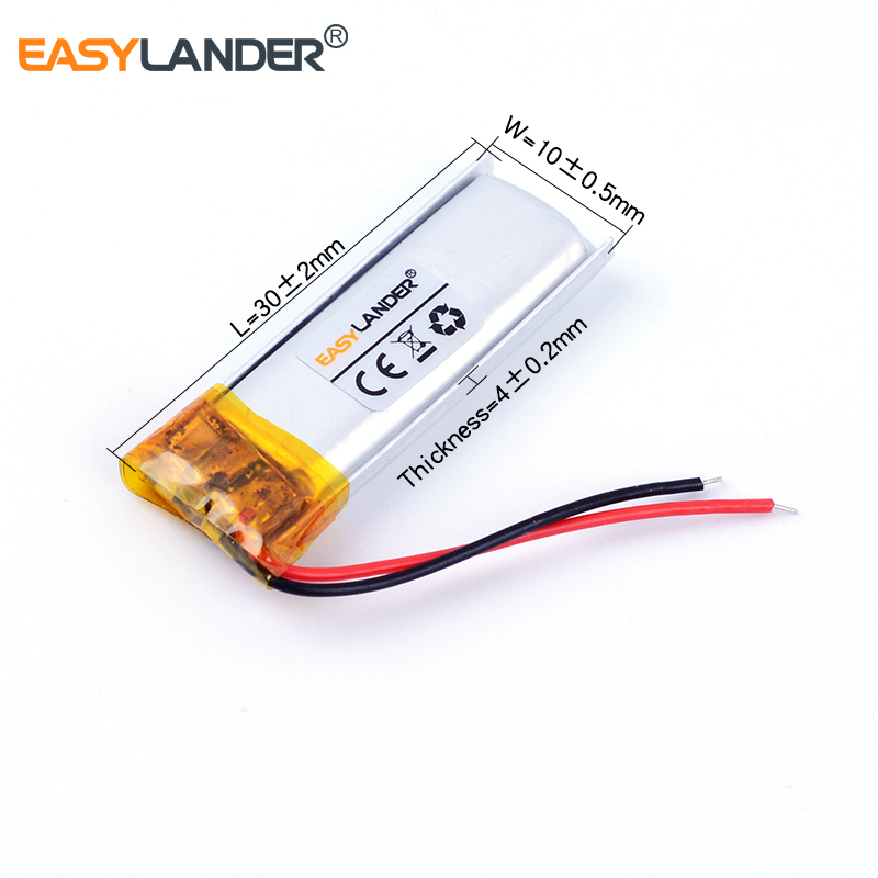 401030 3.7V 80mAh Rechargeable Li-Polymer Li-ion Battery For mp3 GPS Smart bracelet watch Bluetooth earphone 401129 041030