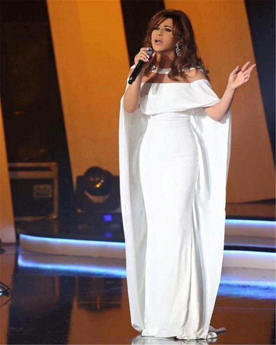 Long White Evening Dress with Cape Illusion Neckline Designer Prom ...
