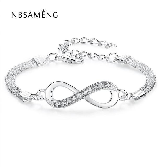 2018 Hot Fashion Simple 8 Characters Silver plated Chain Infinity Bracelet High-