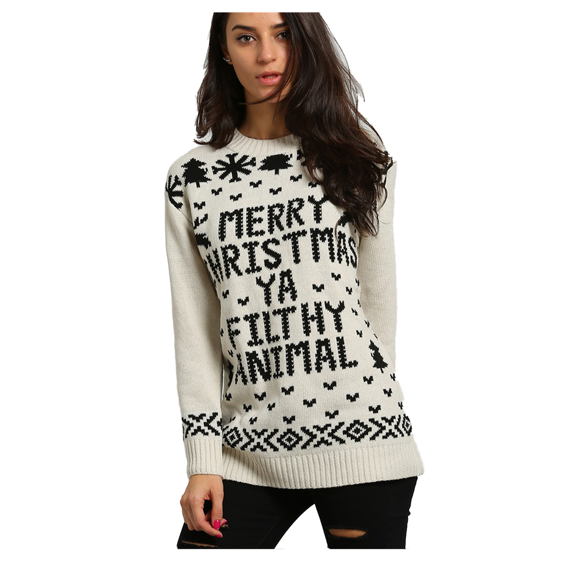 Women Fashion Digital Knitted Women Merry Christmas Ya Filthy Animal Pullover Sweater Woman(BEIGE)