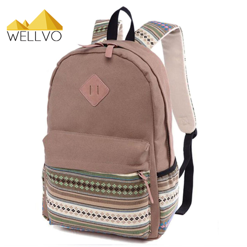 Ethnic Canvas Backpack School Bag Student Patchwork Striped Rucksack Women/Men Travel Packs Laptop Shoulder Bag Mochila XA1435C 2016 new style canvas leather patchwork fashion student school stachel book 15 inch travel shopping laptop computer backpack bag