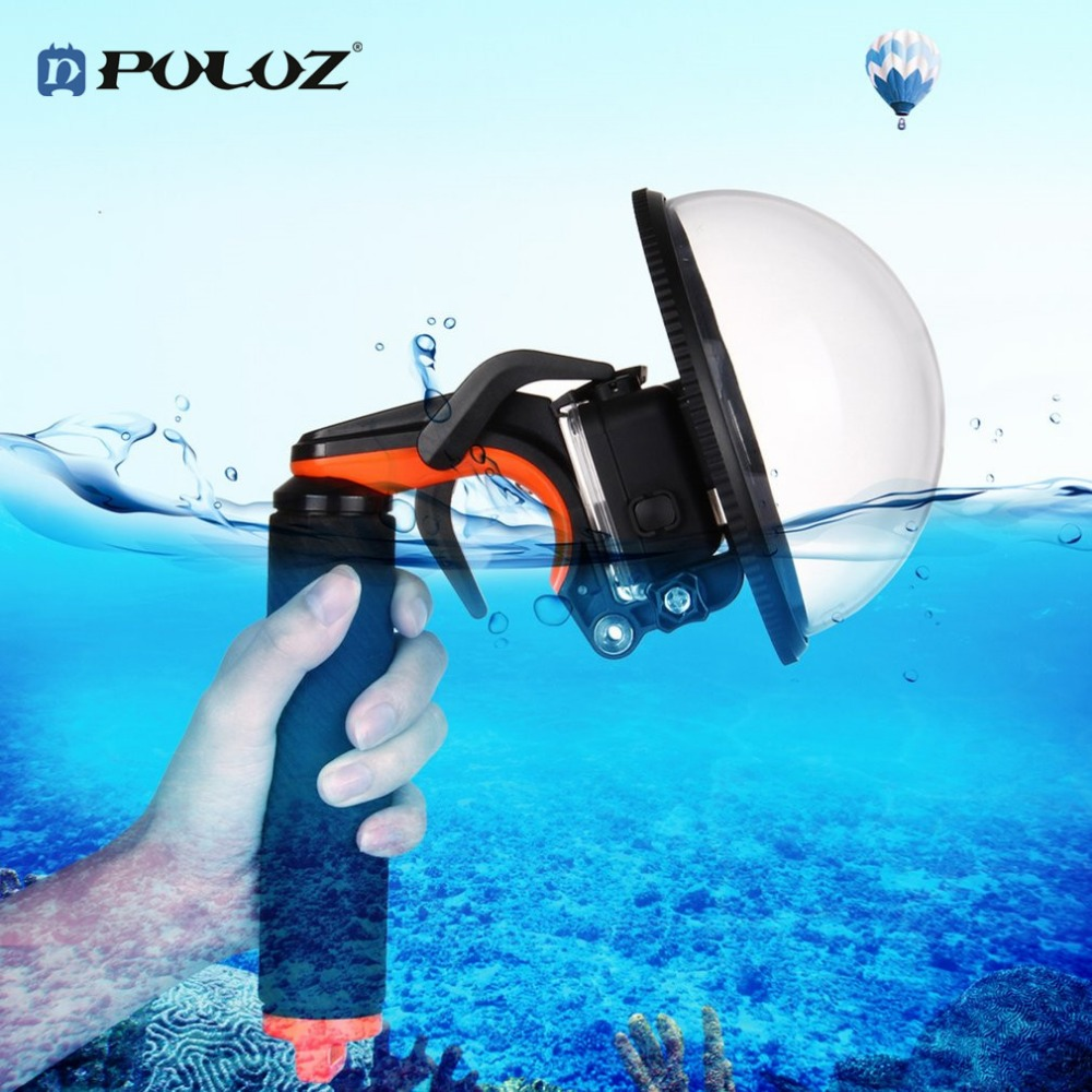 PULUZ Dome Port Waterproof Shell Water Mirror Mask Floating Hand Grip Shutter Trigger Tripod For GoPro Hero 6 5 Camera Accessory environmentally friendly pvc inflatable shell water floating row of a variety of swimming pearl shell swimming ring