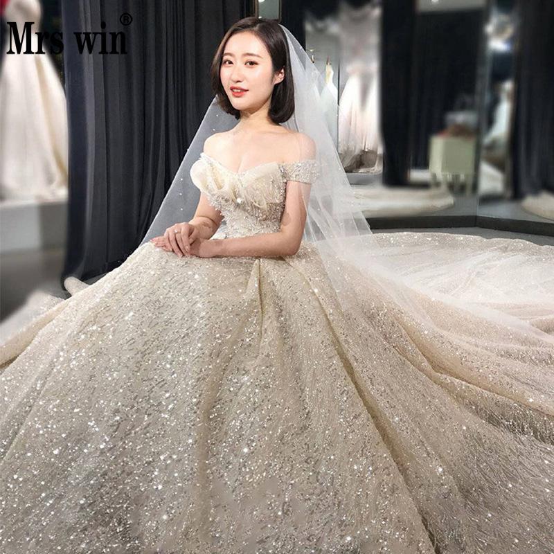Wedding Dress 2020 Mrs Win Luxury Boat Neck Princess Wedding Gowns Bling Bling Crystal High-end Wedding Dresses Plus Szie F