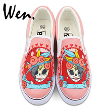 Wen Mexican Style Skulls Totem Original Design Hand Painted Shoes for Men Woman Slip Ons Custom Canvas Sneakers