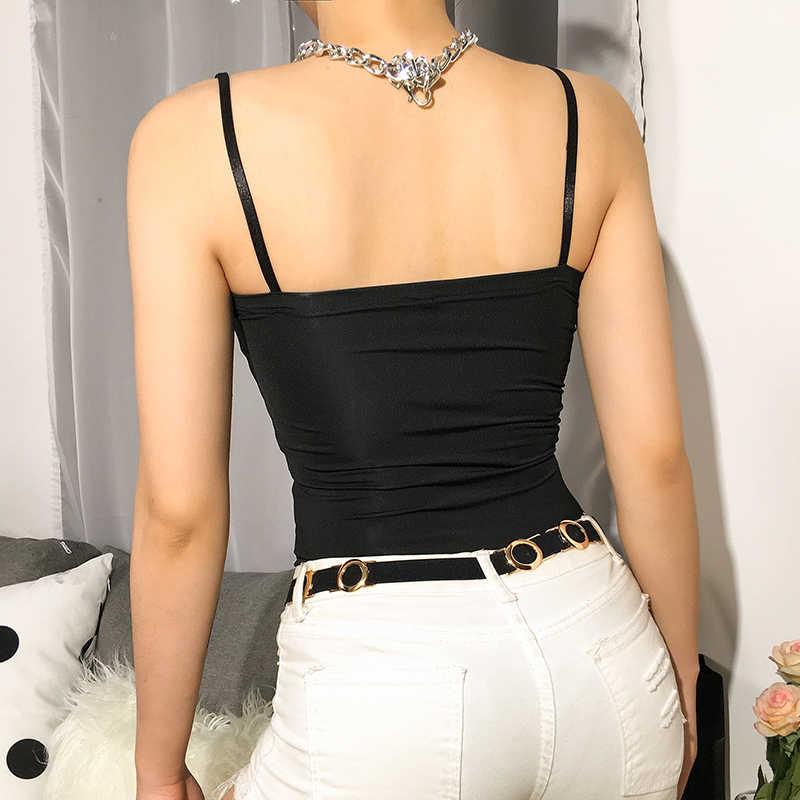 Sweetown Черный без бретелек Лето боди металлической цепью Спагетти ремень Одна деталь тела Mujer Топ спинки Сексуальная женские боди