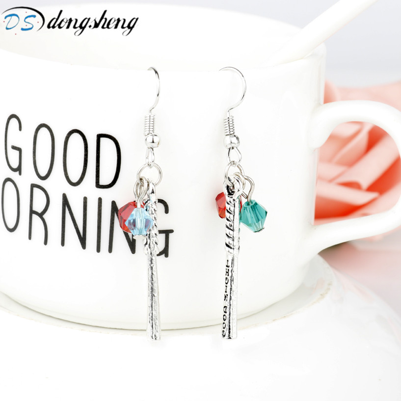 dongsheng Movie DC Comics Cosplay Jewelry Suicide Squad Harley Quinn Crystals Baseball Bat Drop Dangle Earrings for Women Girl