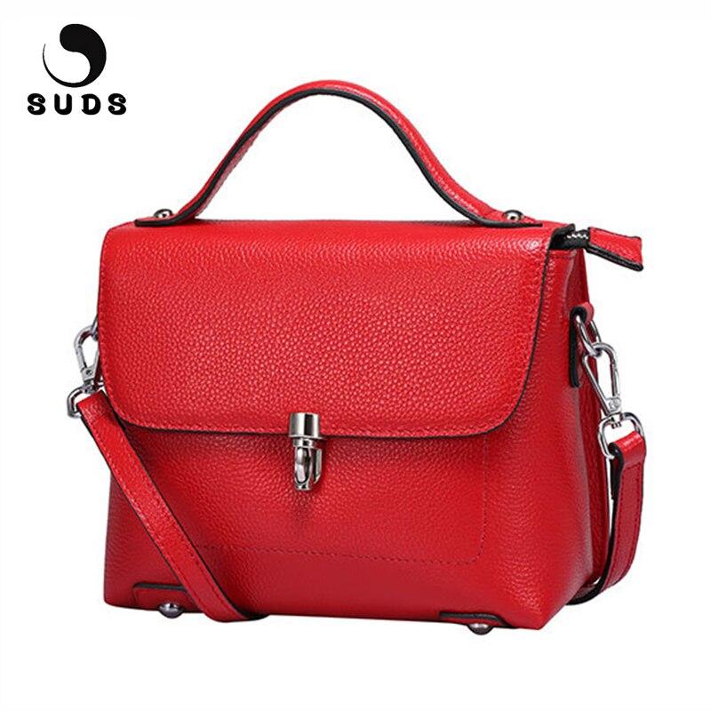 SUDS marque en cuir véritable 2018 mode femmes petit sac à bandoulière haute qualité en cuir de vache femmes Messenger sac bandoulière rabat sac