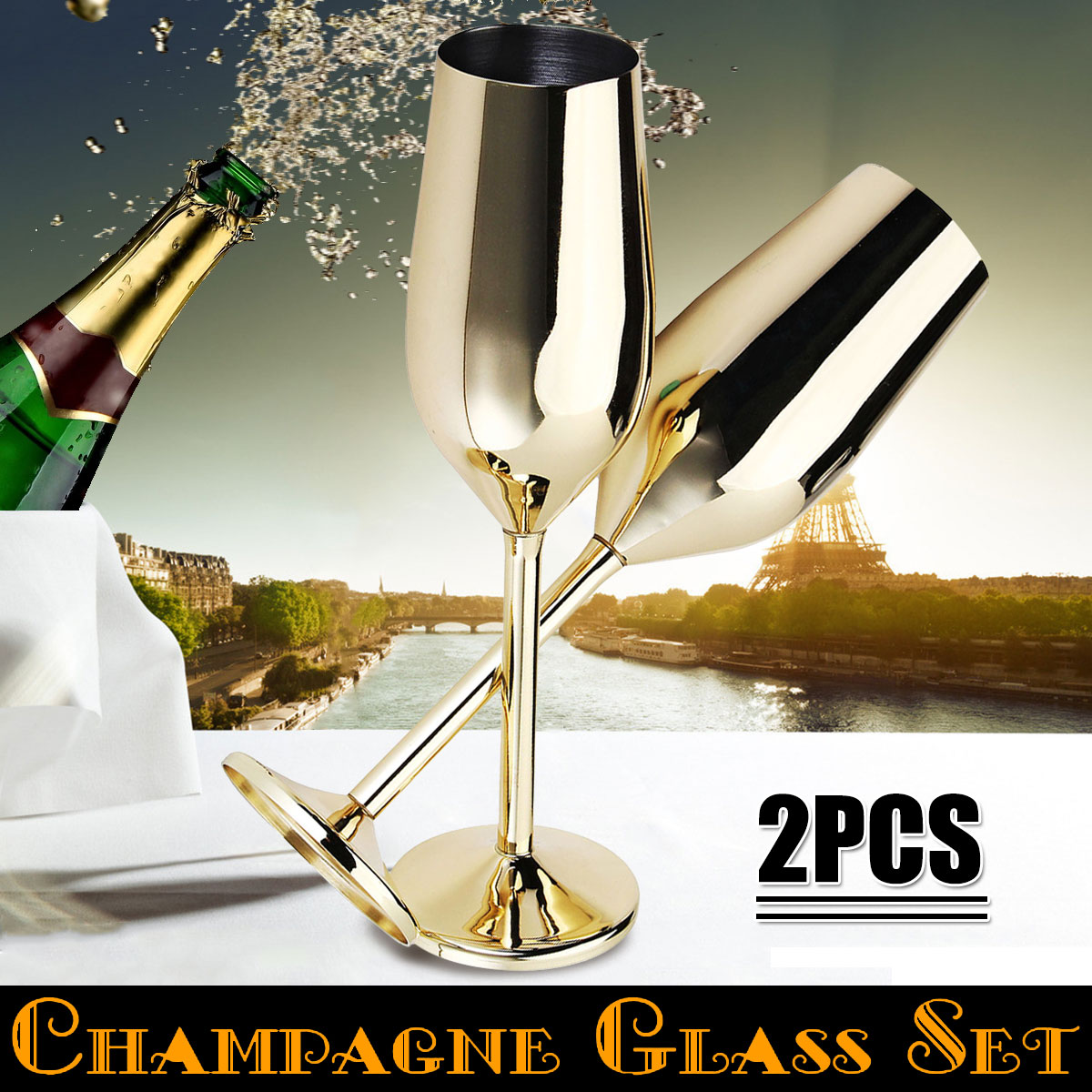 2Pcs/set Shatterproof Stainless Champagne Glasses Brushed Gold Wedding Toasting Champagne Flutes Drink Cup Party Marriage Wine2Pcs/set Shatterproof Stainless Champagne Glasses Brushed Gold Wedding Toasting Champagne Flutes Drink Cup Party Marriage Wine