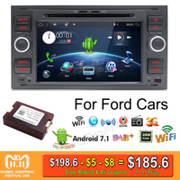 2 din Android 7.1 Quad Core Car DVD Player GPS Navi for FORD FOCUS/MONDEO/C MAX with Audio Radio Stereo Head Unit Free Canbus