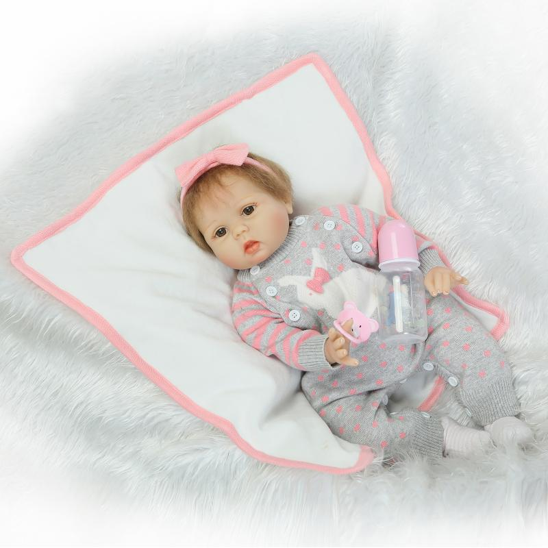 New55cm Soft Silicone Reborn Baby Doll Handgjorda Kläder Little Girl Doll Reborn Brinquedos Tidig Utbildning Reborn Baby Dolls