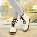 Botas de Tornozelo mulheres 2017 nova Primavera Outono Genuíno Laço de Couro Up terra Sapatos de Punk Cores Preto Branco Plus Size 42 44 zapatos mujer