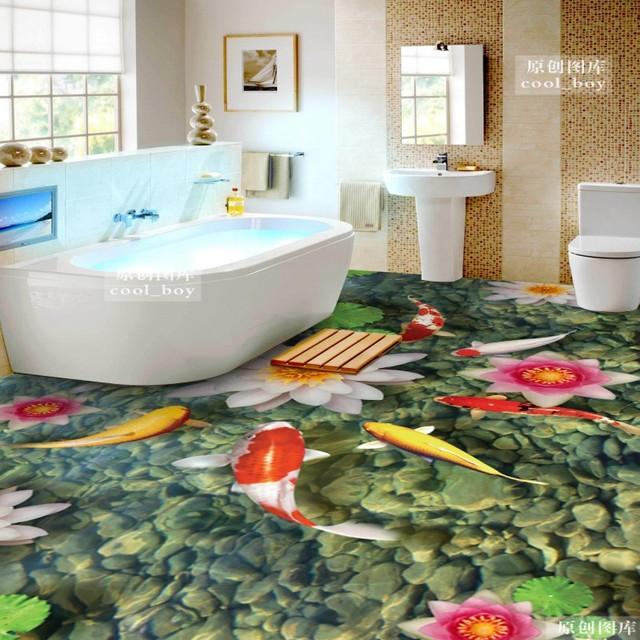 Free Shipping 3D Cobblestone Fish Figure Koi Flooring Wallpaper Bathroom  Park Decorative Waterproof Floor Mural