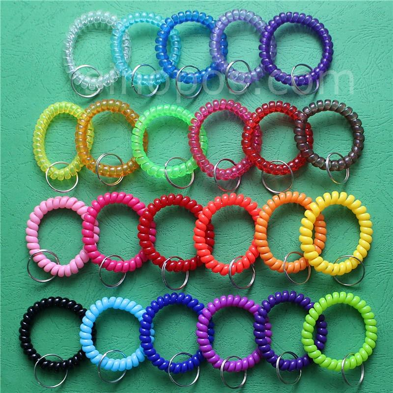 Stretchable Spiral Coil Keychain Red Keyring Bracelet Ring for Bag Keys Tool