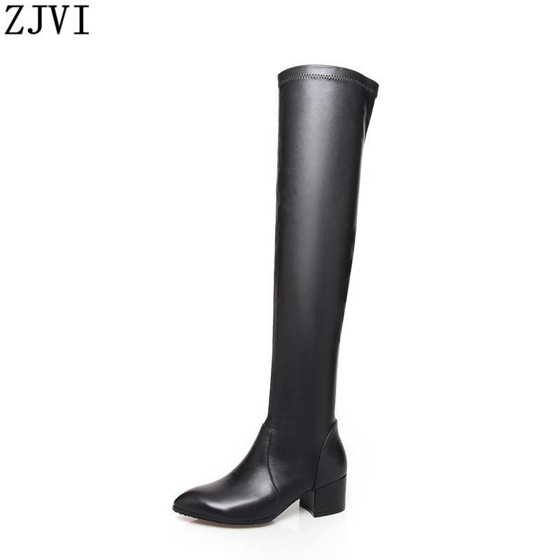 ФОТО ZJVI ladies fashion over the knee boots winter thigh high boots woman boots genuine leather autumn womens pointed toe shoes