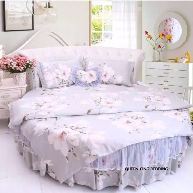 New Arrival Round Bed Cover 4pcs Sets Round Bed Skirt Flower Garden Cotton  Blue Bows Lace Part 57