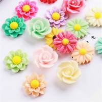 Wholesale 100PCs Lot Beautiful Resin Plastic Flower Flatback Cabochon Craft Fit Girls Hair Jewelry Headband Clips
