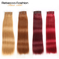 Rebecca Natural Silky Weave Human Hair 1 Bundle Deals Brazilian Ombre Straight Hiar Colored Remy Hair #27 #30 #99J #Burgundy Red