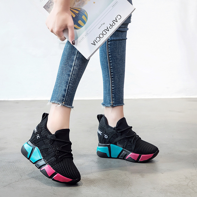 LORFRCIN 2018 High Heel 9cm Women Casual Sneakers Shoes Women Leisure Platform Wedges Height Increasing Shoes zapatillas mujer