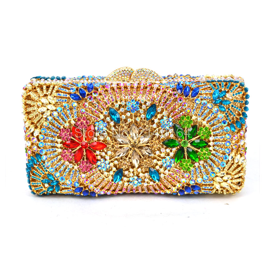 Both Side Handmade Diamond Flower Crystal Evening Bag Clutch Bags Upscale Styling party Day Clutches Lady Wedding Purse (528) new single side figer diamond crystal evening bags clutch rhinestones handbag hot styling day clutches lady wedding women purse