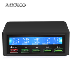 AIXXCO USB Quick Charger 40W 5-Port LED Display Quick Charge 3.0 Fast Charger Desktop Charging Station iPhone X 8 7 6, iPad