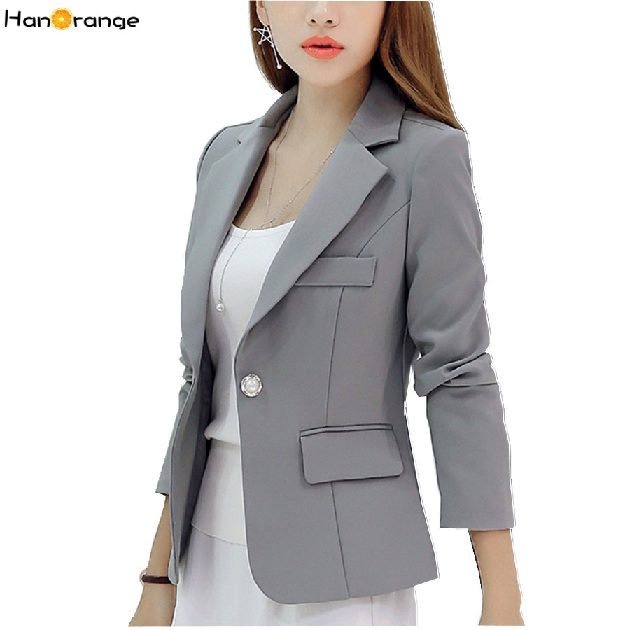 HanOrange Spring Autumn Suit Slim Fashion Long Sleeve Single Button Women Blazer Jacket Gray/Wine Red/Dark Blue S/M/L/XL/XXL
