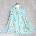 Cute Animal Fox Pattern Viscose Shawl Scarf Bufandas Mujer 2017 Winter Cotton Volie Long Head Hijab Wrap Neck Snood Muslim Sjaal