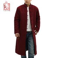 Lovers' Clothes 2019 Unisex Trench Coat For Men Winter Long Jacket Cotton padded Traditional Chinese Cloth Erkek Mont Gabardina