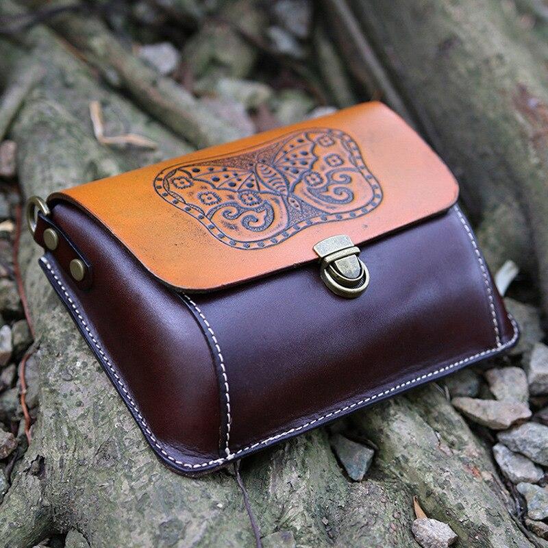 Echte Natürliche Leder Frauen Einzigen Schulter Tasche Schwarz/Braun Mini Weibliche Casual Geprägt Schmetterling Messenger Tasche - 5