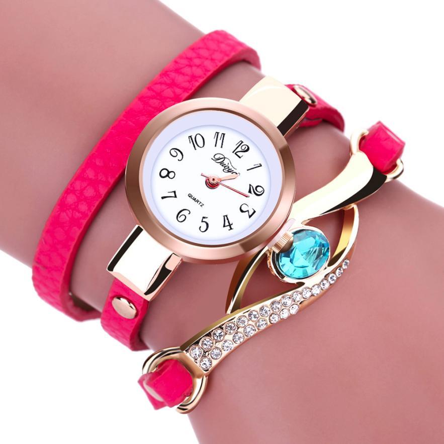 2016 New Arrival Luxury Diamond Fashion Women Diamond Wrap Around Leatheroid Quartz Wrist Watch  Relogio Feminino Gifts