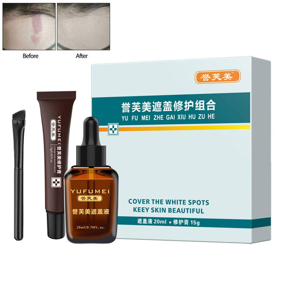 2pc Full Cover Liquid Care Cream Concealer Face Body Birthmark Dark Spot Freckles Blemish Surgical Scar Tattoo With Brush