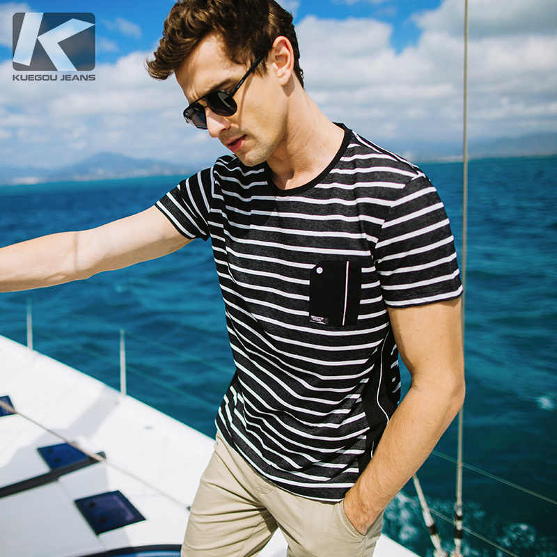 11d21830e5d KUEGOU New Summer Mens Casual T Shirts Striped Black White Red Color Man s  Short Sleeve Slim