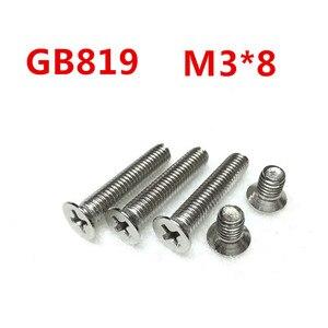 Free Shipping 100pcs/Lot GB819 M3x8 mm M3*8 mm 304 Stainless Steel flat head cross Countersunk head screw