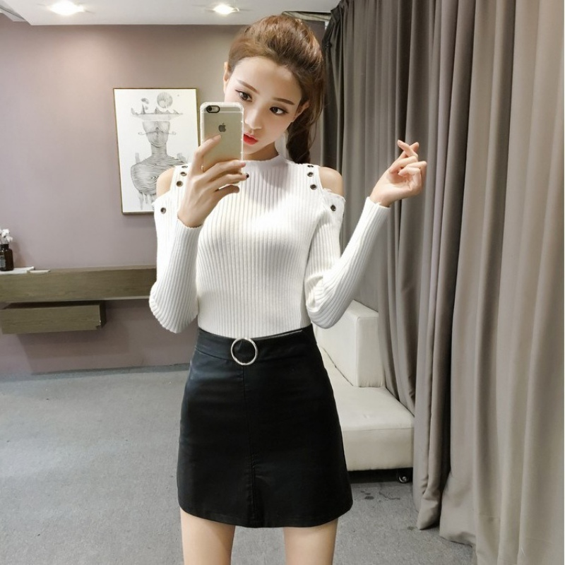 Autumn Women knitting Tops Off Shoulder Slim Female Strong Elastic Pullovers Short Jumper Long Sleeve Winter Sweaters S4