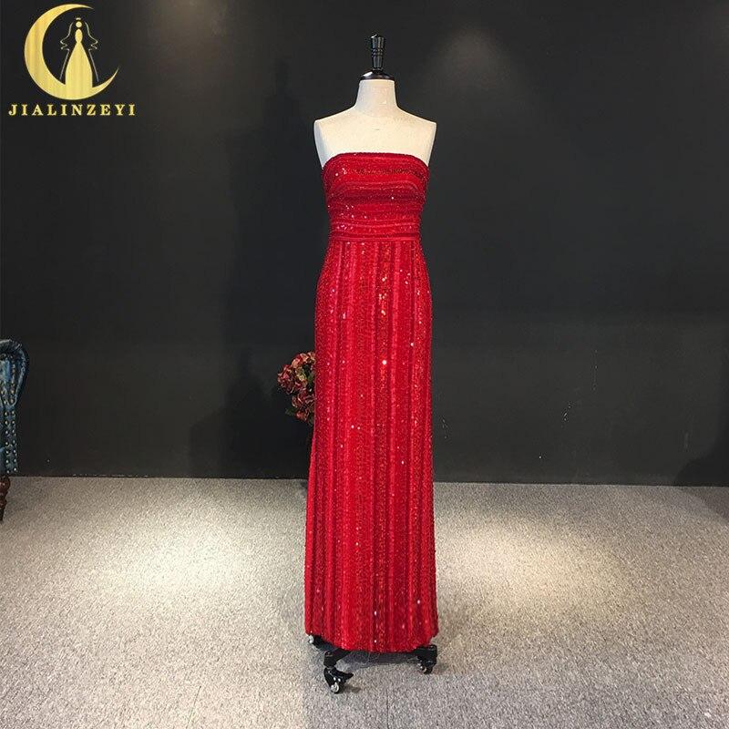 JIALINZEYI Image réelle sans bretelles rouge paillettes cristal Sexy Lusurious nouvelle arrivée en mousseline de soie nouvelles robes de soirée AJ013