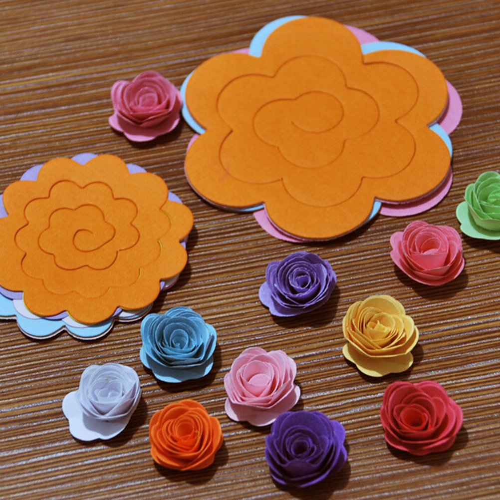 22pcs/lot Paper Quilling Flowers Rose Paper Diy Handmade Material Accessories Paper Material Two Sizes Wholesale
