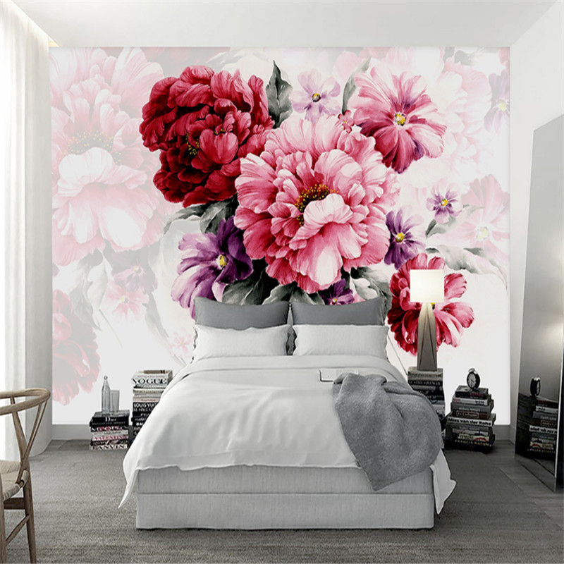 custom modern 3d wallpaper wall murals 3d watercolor hand-painted flower fashion modern living room sofa bed background wall custom murals flowering trees branches pink color flowers wallpapers living room tv sofa wall bedroom 3d wallpaper background